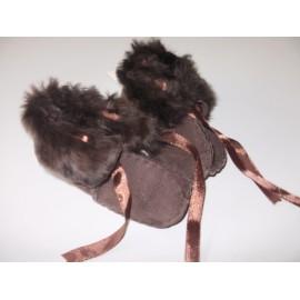 Teplučké kojenecké papučky - kožušinkové
